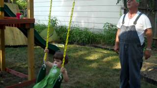 Toddler Sees Finished Swing-set For The First Time - Extended Version