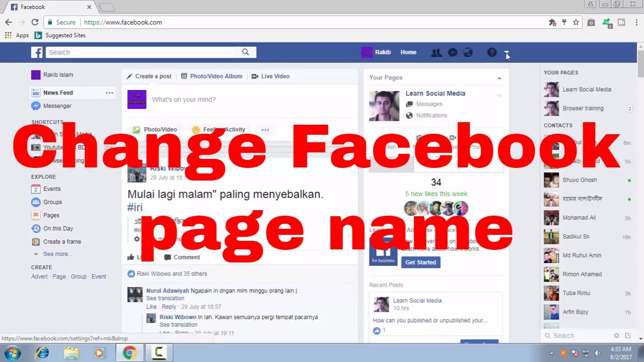how to edit text on facebook page