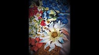 Съемный цветок из атласных лент. Removable flower from satin ribbons