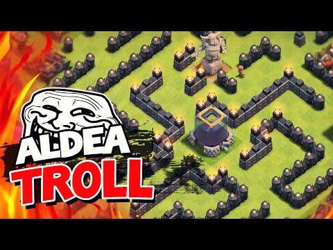 ¡¡EL LABERINTO DEL MINOTAURO!! ¡NIVEL 122 NO PUEDE ARRASARME! | Clash of Clans Troll Base