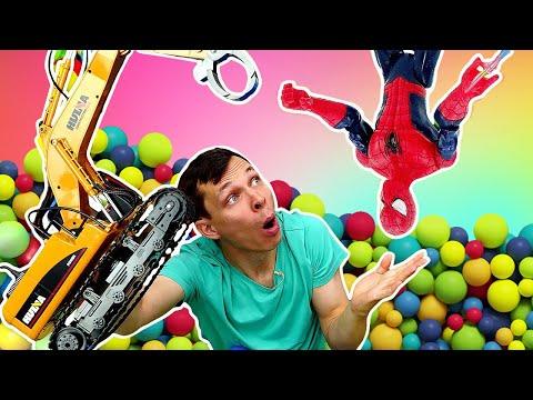 Игры для детей. Человек Паук и Фёдор ищут игрушки в шариках! Видео с машинками в Автомастерской.