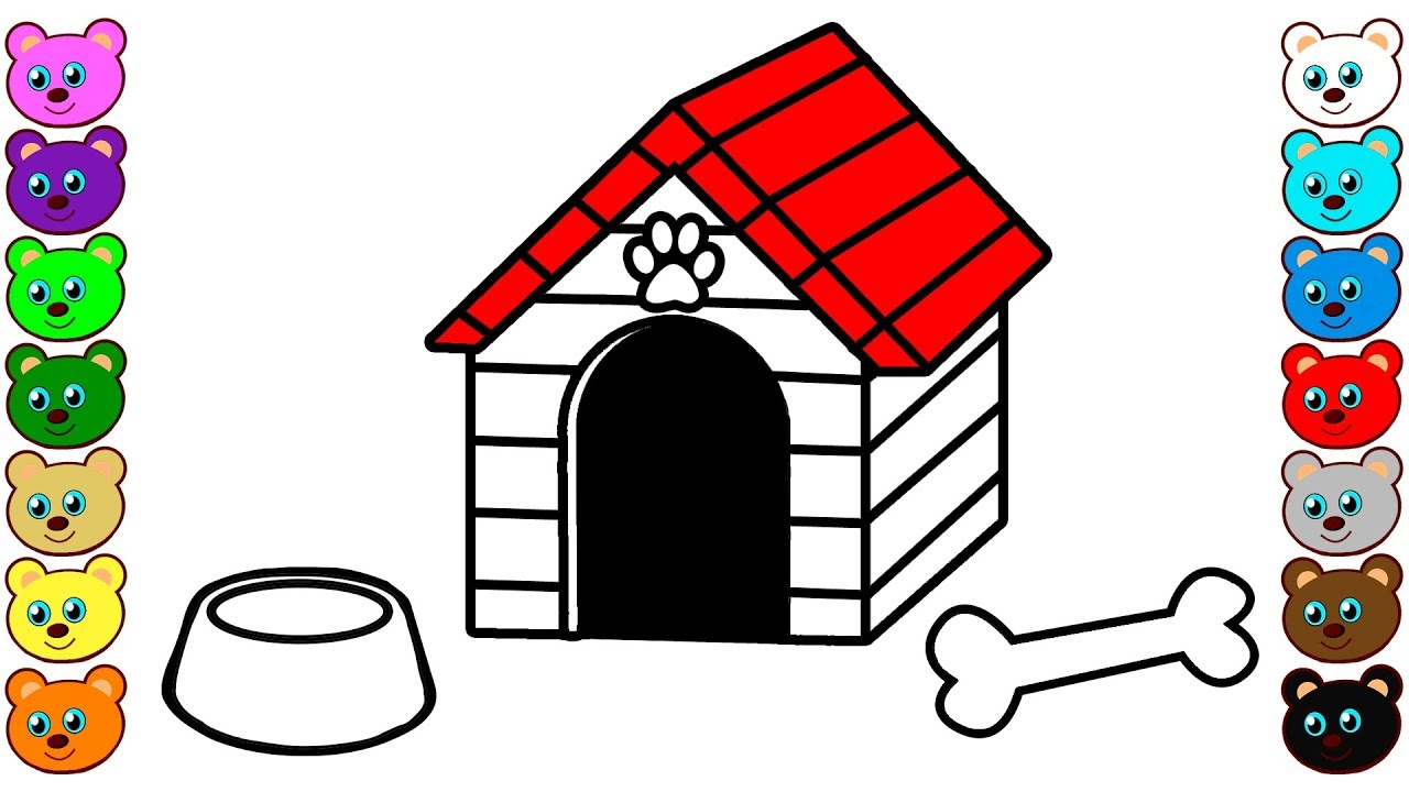 Dog House | Coloring Page for Children - YouTube