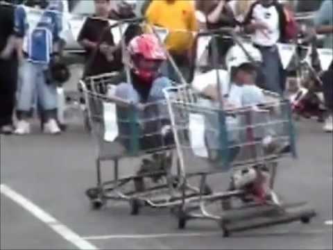 Gas Powered Shopping Cart Racing Youtube