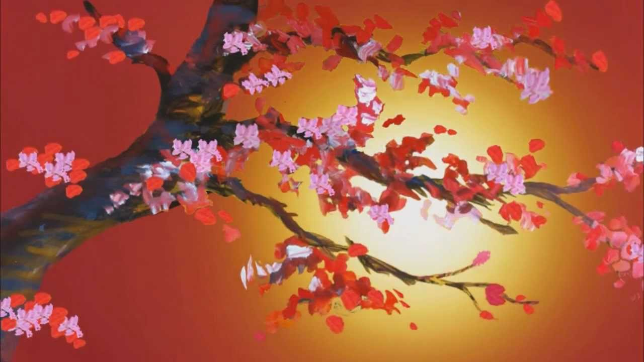 cherry blossom painting in motion youtube