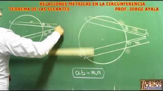 TEOREMA DE LAS SECANTES  DEMOSTRACION DE RELACIONES METRICAS EN LA CIRCUNFERENCIA