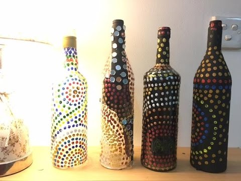 Decorate A Glass Bottle Captivating Diy Easy Bottle Decoration Using Cotton Swab And Acrylic Paint Decorating Design