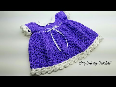 How To Crochet - BABY DRESS   Lil' Blueberry Muffin   Crochet Tutorial #444