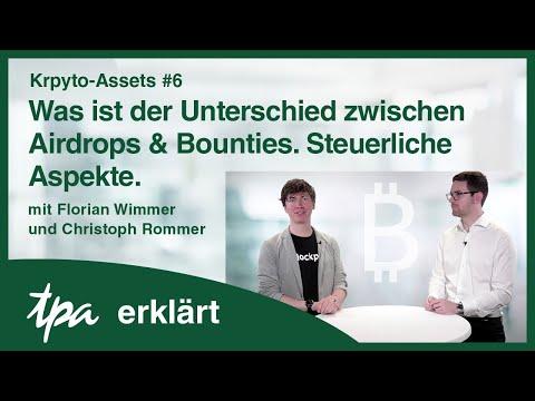 Krypto-Assets #6: Airdrops und Bounties: Unterschiede & Steuerliche Aspekte! TPA erklärt-Video