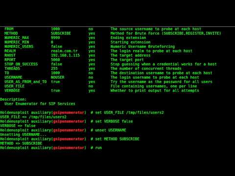 Penetration Testing for SIP/VoIP Services (Using Metasploit Framework)