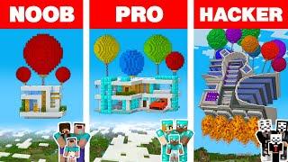 Minecraft NOOB vs PRO vs HACKER: BALLOON FAMILY HOUSE BUILD CHALLENGE in Minecraft Animation