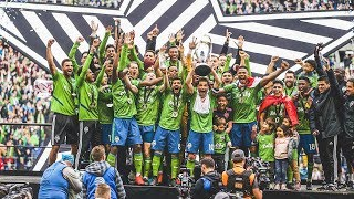 Seattle Sounders FC lift the Philip F. Anschutz trophy after winning 2019 MLS Cup!