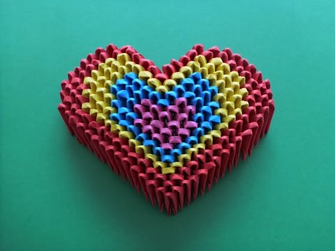 DIY ORIGAMI MODULAR RAINBOW HEART EASY GIFT IDEAS FATHER'S DAY SIMPLE GUIDE,  GESCHENK ZUM VATERTAG