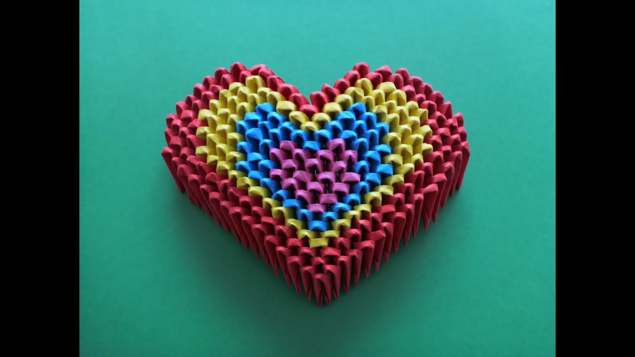 DIY ORIGAMI MODULAR RAINBOW HEART EASY GIFT IDEAS FATHERS DAY SIMPLE GUIDE GESCHENK ZUM VATERTAG