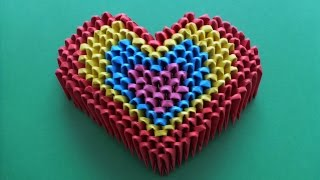 DIY ORIGAMI MODULAR RAINBOW HEART EASY GIFT IDEAS FATHER