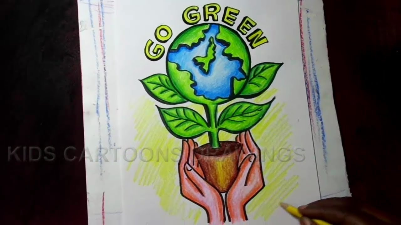 how to draw go green save trees save earth poster drawing