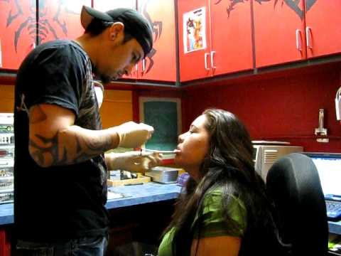 Lip Piercing by Billy Joe at White Buffalo Tattoo Studio - YouTube