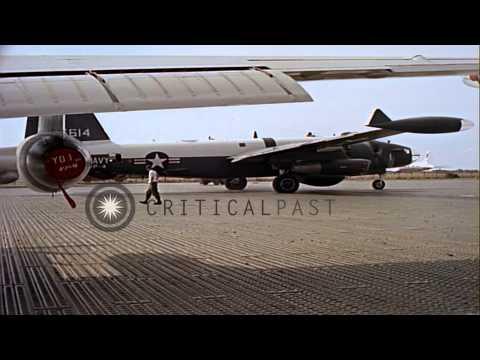 United States Naval patrol bomber SP-2H taxis before take off Vietnam HD Stock Footage