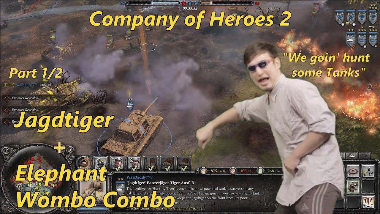 Coh2 Jagdtiger Elephant Wombo Combo 4v4 Multiplayer Part 1 2 Youtube