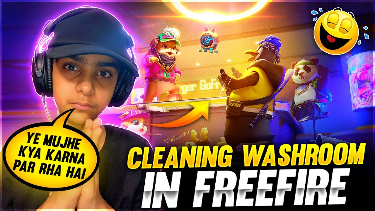 CLEANING WASHROOM IN FREE FIRE ! ❤️🤯