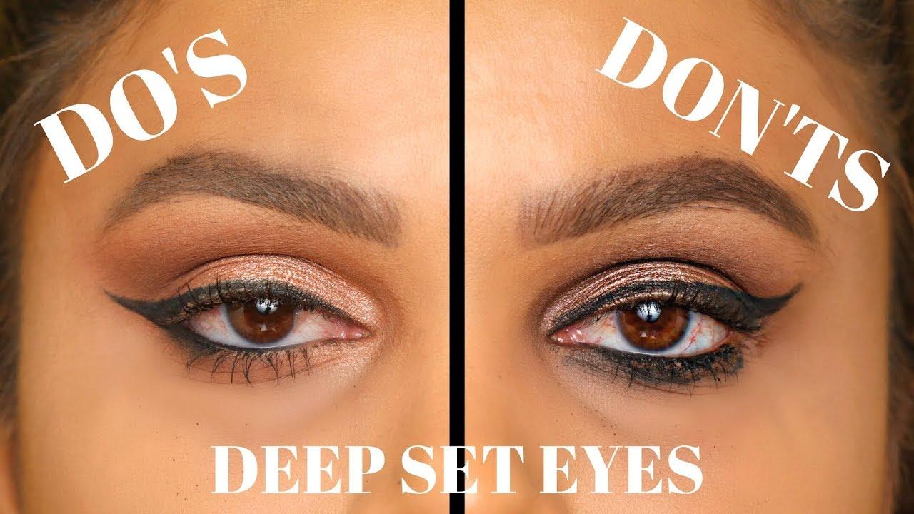 deep set eyes do's and don'ts   makeup, eyeshadow & winged eyeliner for  deep set eyes