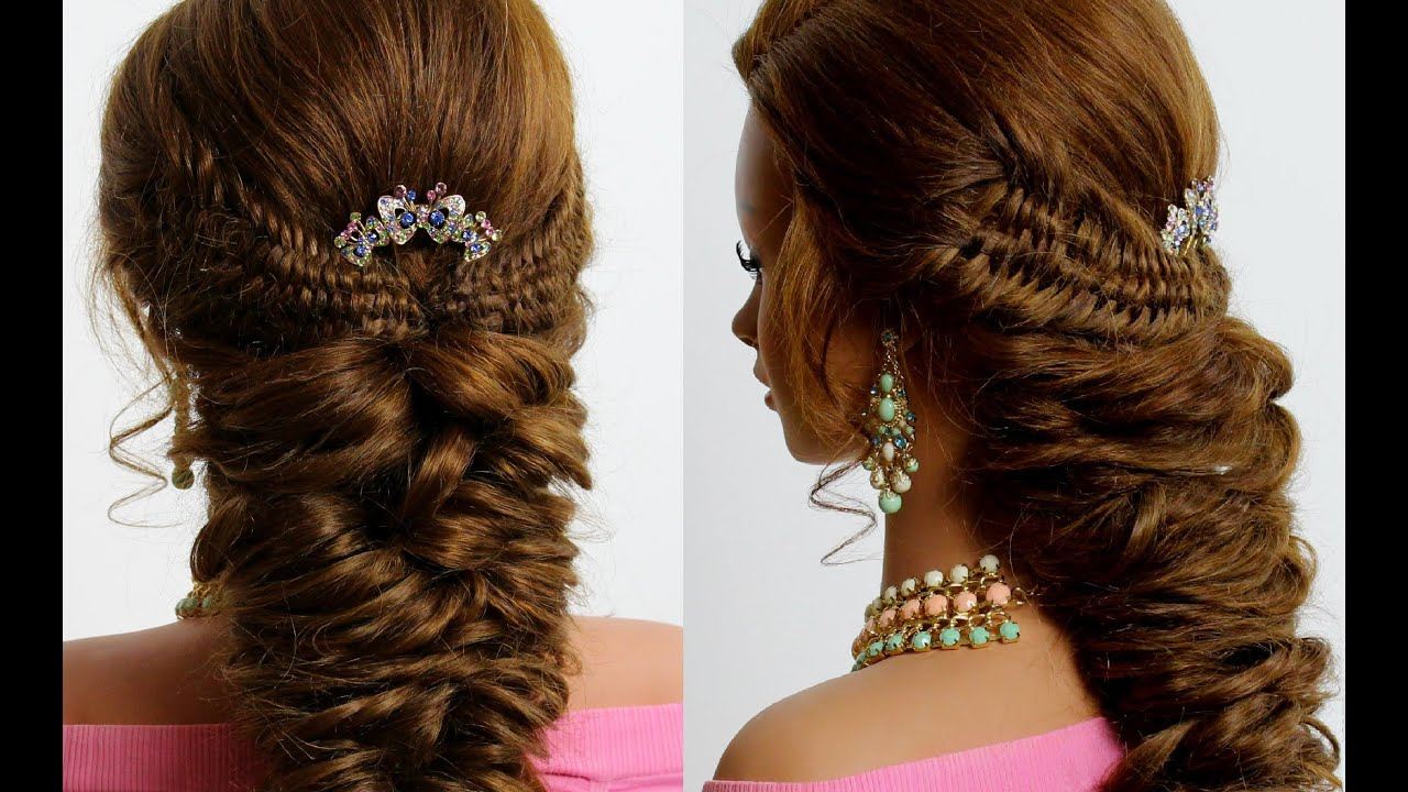 Bridal Hairstyle For Long Hair. 4 Strand Fishtail