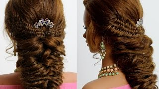 4 Strand Fishtail & Elastic Braid Combo. Hairstyle for long hair