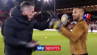Jamie Carragher works on the pads with Kell Brook! 🥊
