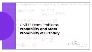 Civil FE Exam - Probability and Stats - Probability of Birthday