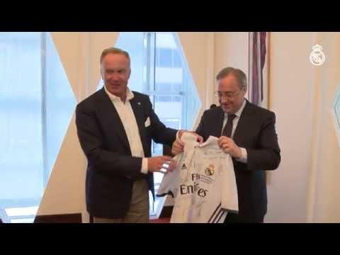 Florentino Pérez y Karl-Heinz Rummenigge en el almuerzo oficial previo al Bayern - Real Madrid