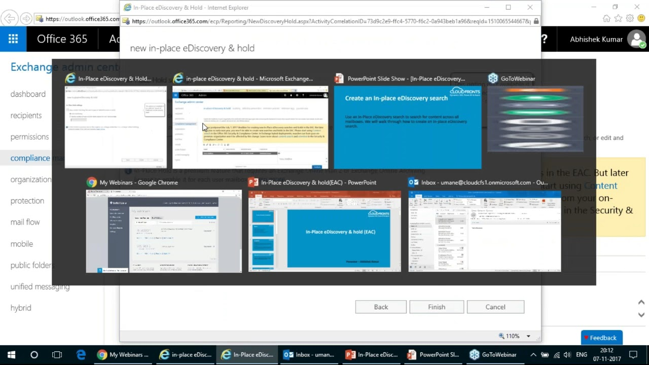 In-Place eDiscovery & hold (Exchange Online Admin Center)