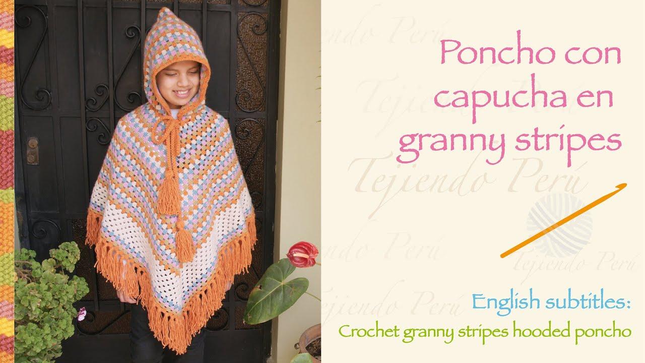 Poncho con capucha en granny stripes tejido a crochet - YouTube