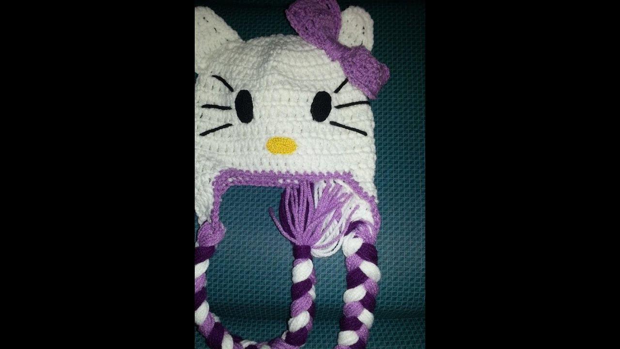 Gorro Hello Kitty a Crochet - YouTube