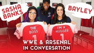 WWE superstars Sasha Banks & Bayley visit Arsenal training centre