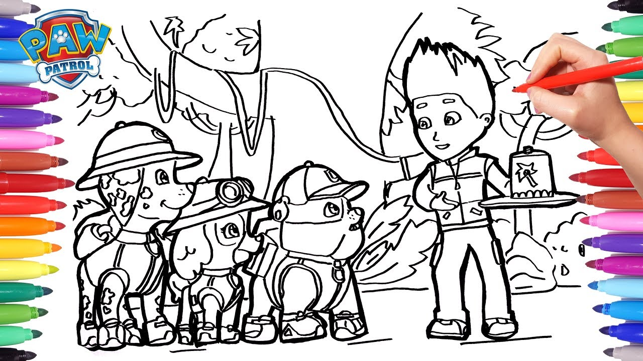 - PAW PATROL Jungle Ubble Skye Marshall And Ryder Coloring Pages