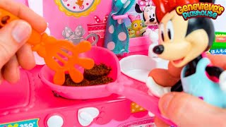 Minnie Mouse Dress Up & Toy Kitchen Cooking for Kids Video Kracie Popin Real Food DIY Hamburger Mix