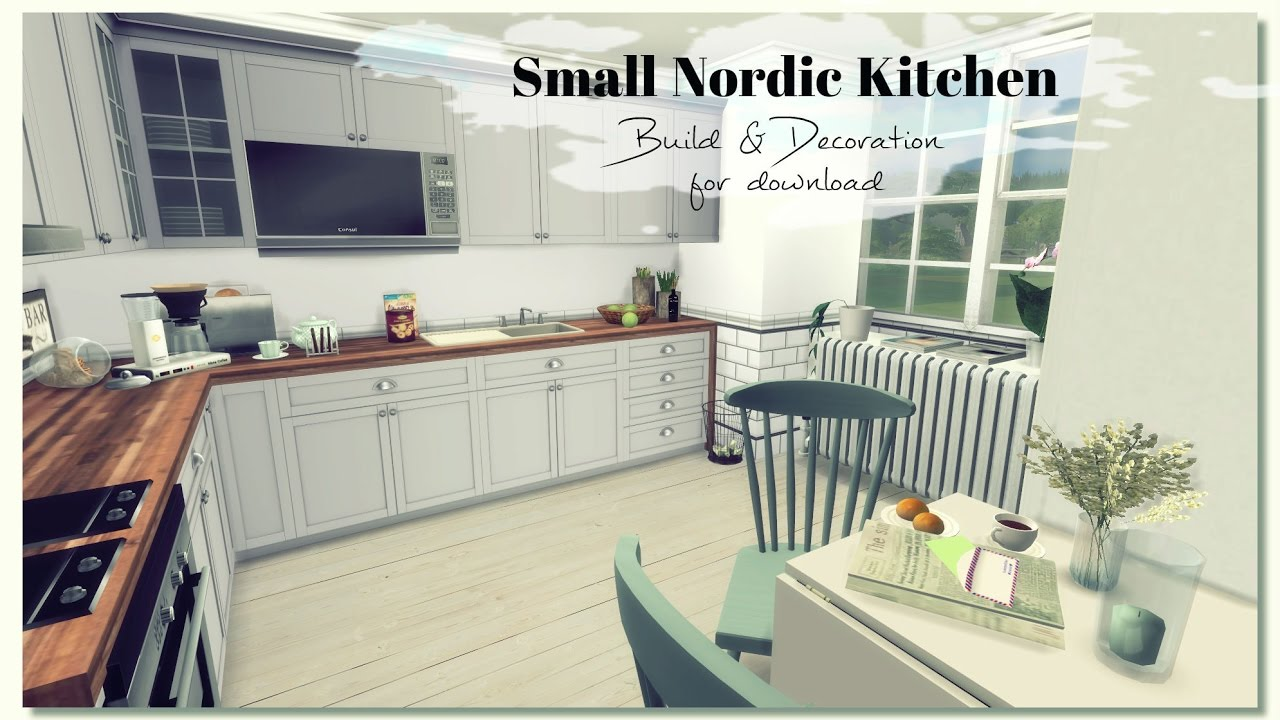 Sims 4 - Small Nordic Kitchen (Room + Mods for download) - YouTube