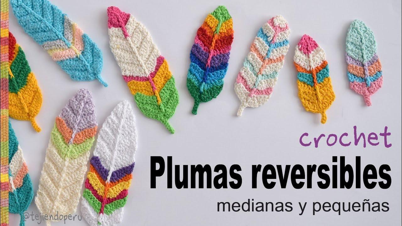 Plumas reversibles medianas y pequeñas tejidas a crochet - Tejiendo ...