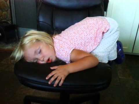 My darling little girl Mateah falls asleep on the office