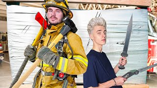100 Layers Challenge Against a Real Firefighter !
