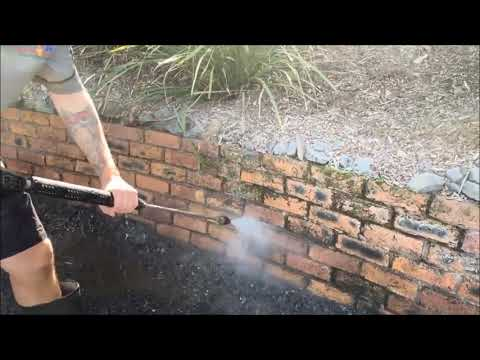 Pressure Cleaning a Brick Garden Bed