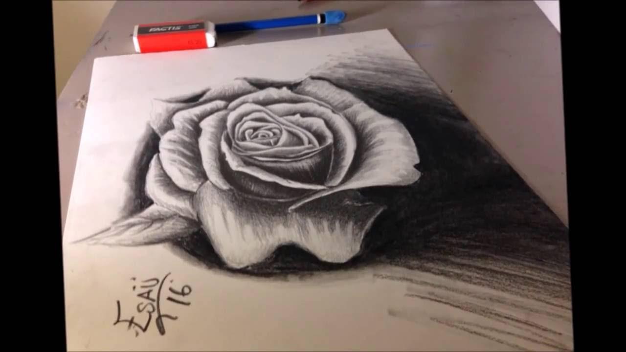 Rosa A 3d Dibujos 3d Rosas A Lapiz Youtube