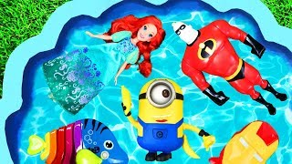 Characters in a Pool - Fun Learning Character Names with Minions and Disney Princesses in Pool