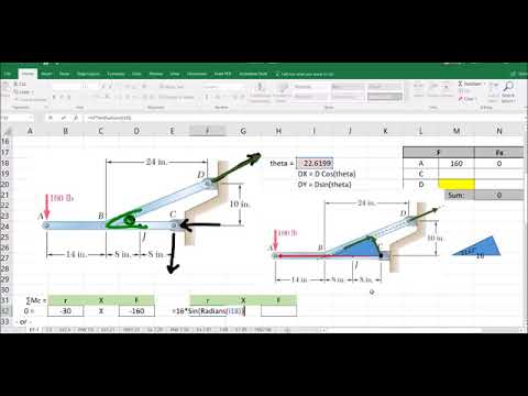 Internal Force example in excel