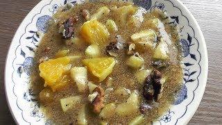 Амарантовая каша с фруктами  и орехами - вегетарианский рецепт