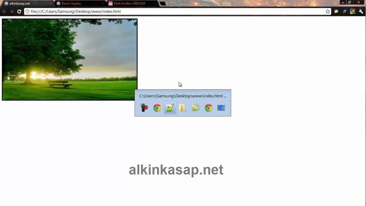 html ders5resim eklemekresime link vermek ve arkaplan