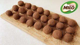 MILO TRUFFLES 2 INGREDIENTS RECIPE | MILO BALLS 2 BAHAN | CONDENSED MILK CHOCOLATE TRUFFLES
