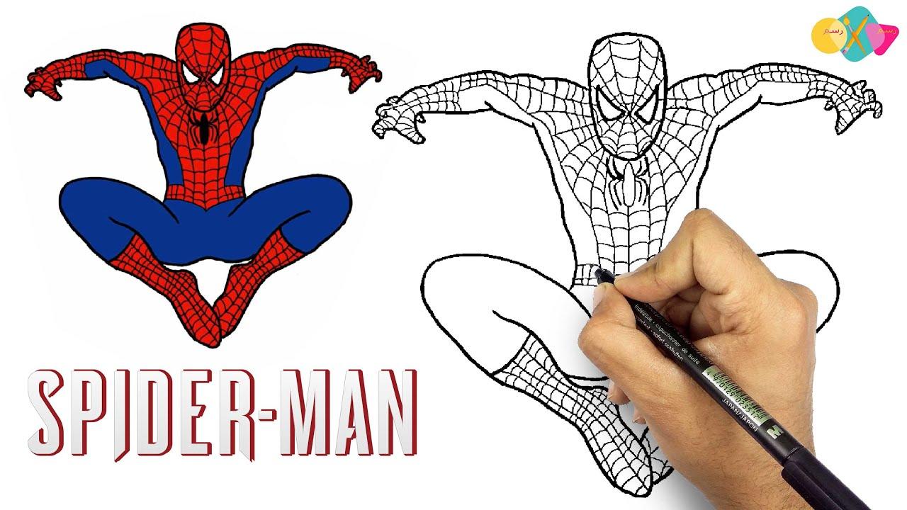 رسم الرجل العنكبوت || تعليم الرسم | كيف ترسم سبايدر مان خطوة بخطوة للمبتدئين