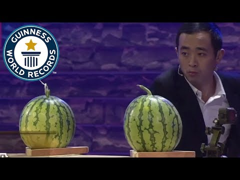 Most playing cards thrown into watermelons in one minute – Guinness World Records