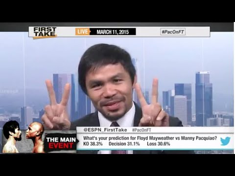 Manny Pacquiao Disrespects Floyd Mayweather on ESPN before the Mayweather Fight-Full Crazy Interview
