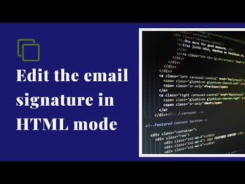 Edit the email signature in HTML mode